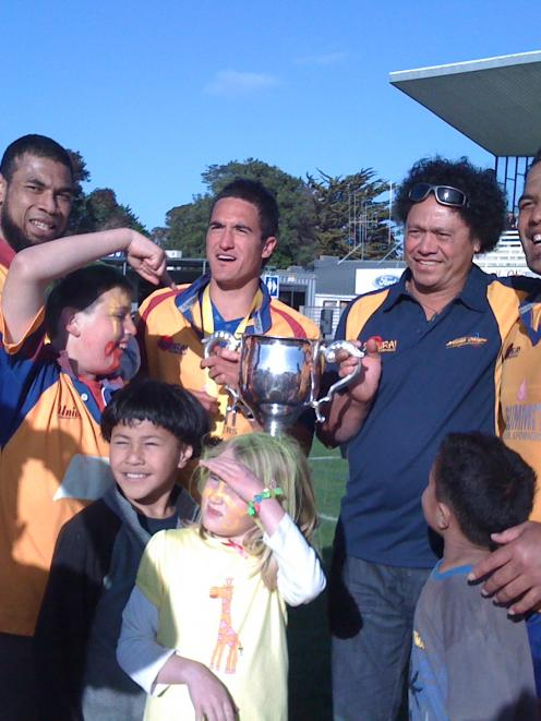 North Otago players celebrate their win. Photo by Craig Baxter