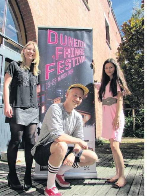 Interns with the Dunedin Fringe Festival (from left) Lena Plaksina, Nick Nissen and Brooke Lowry...