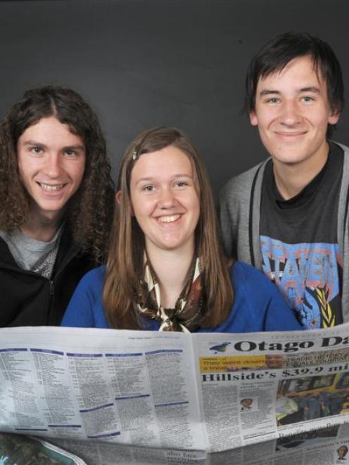 NZQA media studies scholarship winners (from left) Alec Dawson (18), Nell Guy (17) and Jeremy...