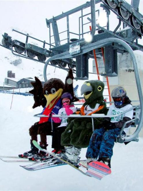 NZSki mascots Spike and Shred share the first chair on Alta lift for the 2013 season with...