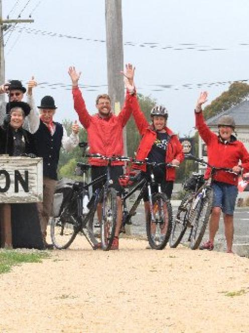 Celebrating the official opening of the Kurow to Duntroon section of the Alps 2 Ocean cycle trail...