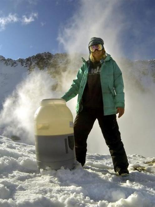 Oamaru brewer Jess Wolfgang stands by a  tub of beer that was being frozen at Ohau Skifield....