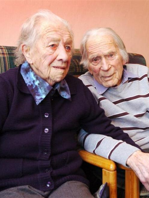 Oamaru couple Win and Alfred Gaze, who have been married 75 years. Photo by Gerard O'Brien.