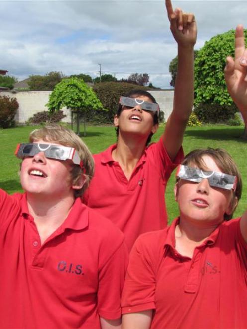 Oamaru Intermediate School pupils, from left, Leam Ryan (12), Eli Hollis (13) and Thomas Waldron ...