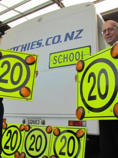 Oamaru Police Community Constable Bruce Dow and Ritchies Transport branch manager Richard Roberts...