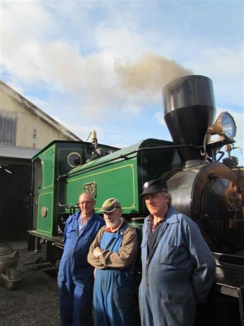 Oamaru Steam and Rail Society members, from left,  Harry Andrew,  Frank Waller and Wayne Brunton...