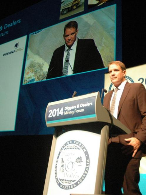 Oceanagold chief operating officer Michael Holmes speaking at Diggers & Dealers Forum in...