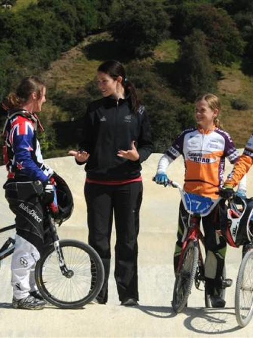 Olympic silver medal winner Sarah Walker coaches (from left) Tahlia Hansen, of Rangiora and...