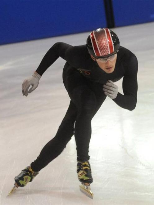 Olympic speed skater Blake Skjellerup competes during the short track speed skating championships...