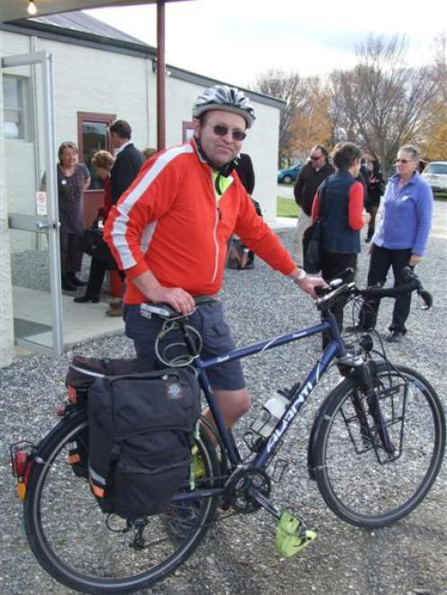 Omakau resident Stephen Wood , a member of the Cycling Advocates Network, arrives on his bike for...