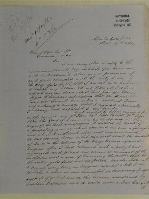 One of Gabriel Read's surviving letters at Archives New Zealand, Dunedin.
