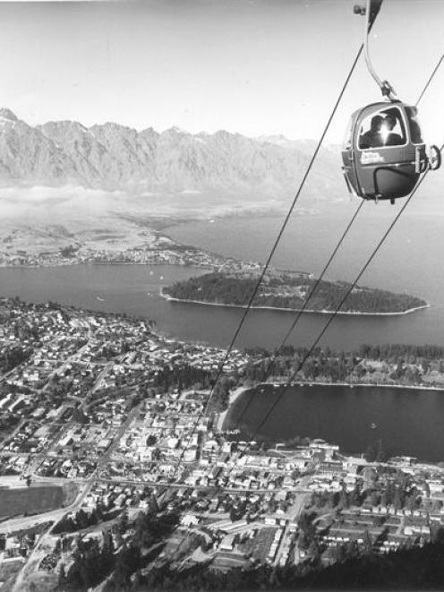 One of the original gondola cars climbs Bob's Peak above Queenstown in the early days. Photo...