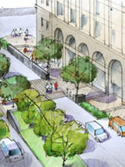 One version of how Princes St outside the former chief post office could look in the future,...
