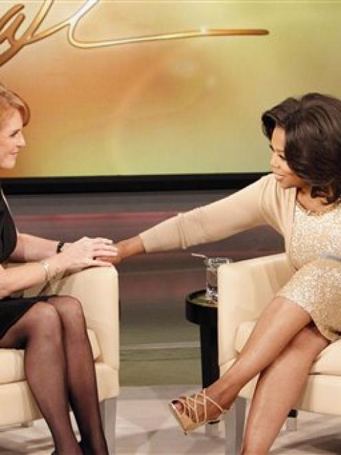 "Oprah Winfrey (right) talks with Sarah Ferguson, the Duchess of York, during taping of ""The Oprah..."