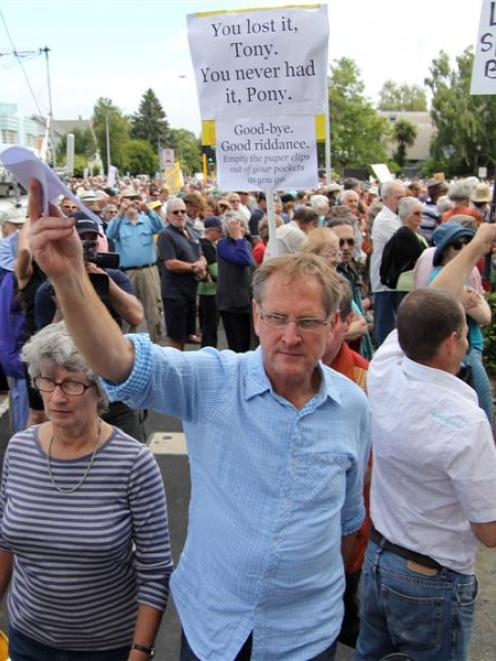 Organiser Peter Lynch leads the protest march to the Christchurch City Council offices on...