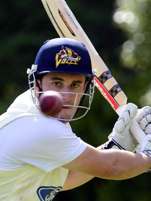 Otago batsman Hamish Rutherford concentrates during a net session at the University Oval...