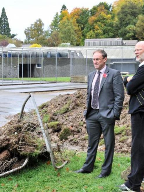 Otago Boys' High School sports council chairman Geoff Bates (left) and First XI coach Ken Rust ...