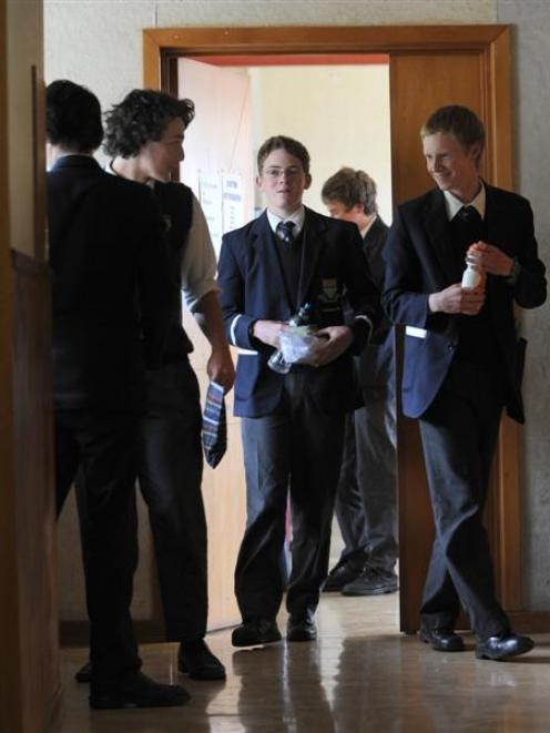 Otago Boys' High School year 12 pupils (from left) Nick Marr-McElroy (17), Josh Mulligan (17),...