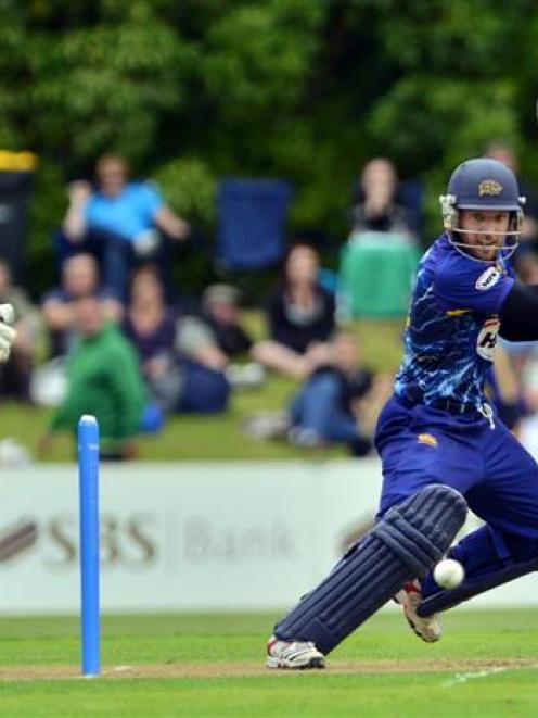 Otago captain Derek de Boorder plays a cut shot during the twenty/20 game against Canterbury at...