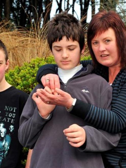 Otago Children's Autism Group secretary Lynlee von Ballmoos and her two sons Regan (13) and...