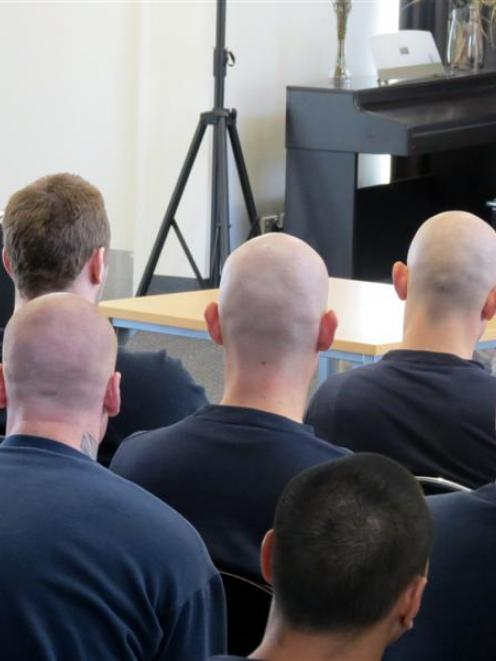 Otago Corrections Facility prisoners and staff watch the play Verbatim yesterday. Photo supplied.