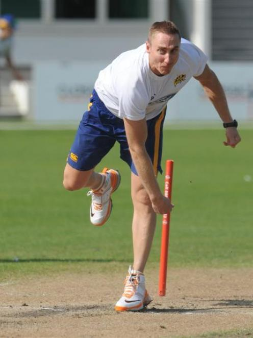 Otago fast bowler James McMillan gets in some practice at the University Oval earlier this week....