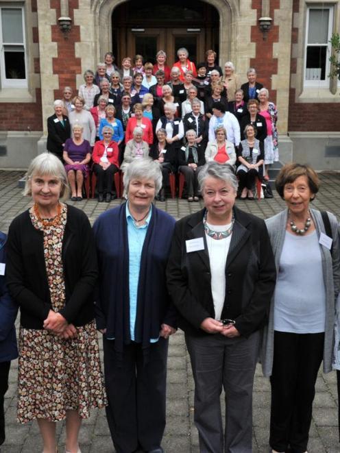 Otago Girls' High School 1954 third form reunion organising committee members (from left) Mavis...