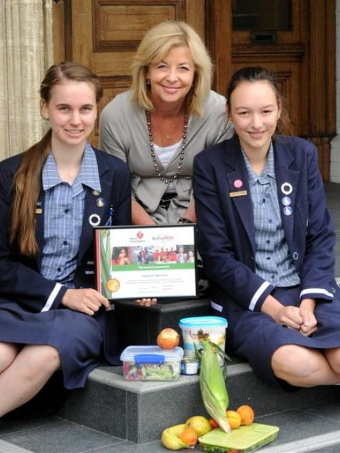 Otago Girls' High School health prefect Serena Sangster (left) and deputy health prefect Olivia...