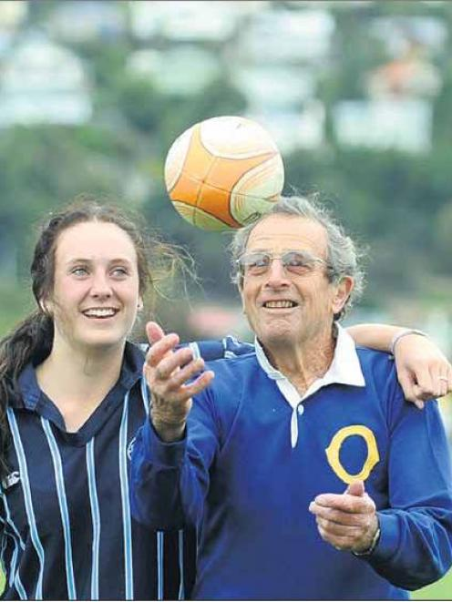 Otago great and 1959 All Black Tuppy Diack tosses a ball at Bathgate Park, Dunedin, yesterday...