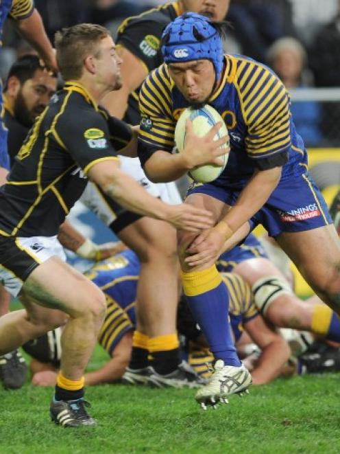 Otago hooker Shota Horie goes on the charge against Wellington in their ITM Cup match at Forsyth...