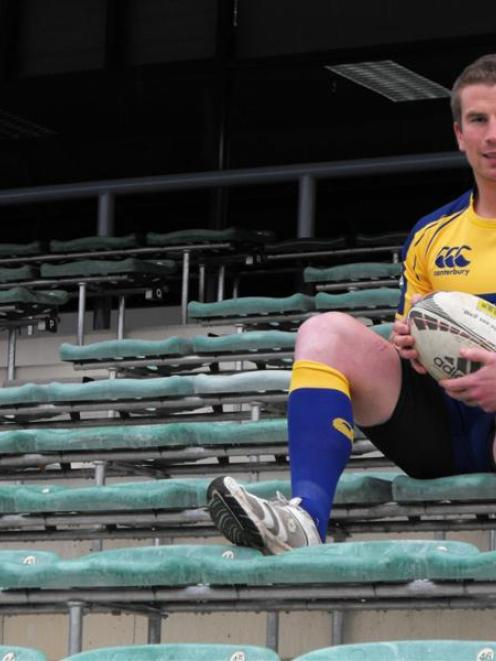 Otago midfielder Sam Giddens relaxes after team training at the Queenstown Events Centre...