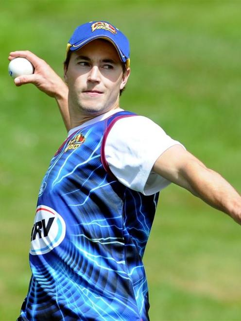 Otago overseas player James Fuller gets in some fielding practice at the University Oval...