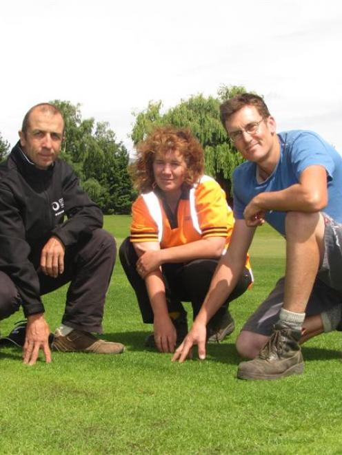 Otago Polytechnic sports turf management programme manager Gary Smith, groundskeeper Susan Head...