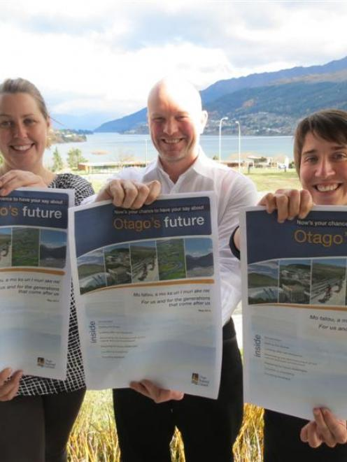 Otago Regional Council policy analysts Sarah Valk (left) and Sylvie Leduc (right) join senior...