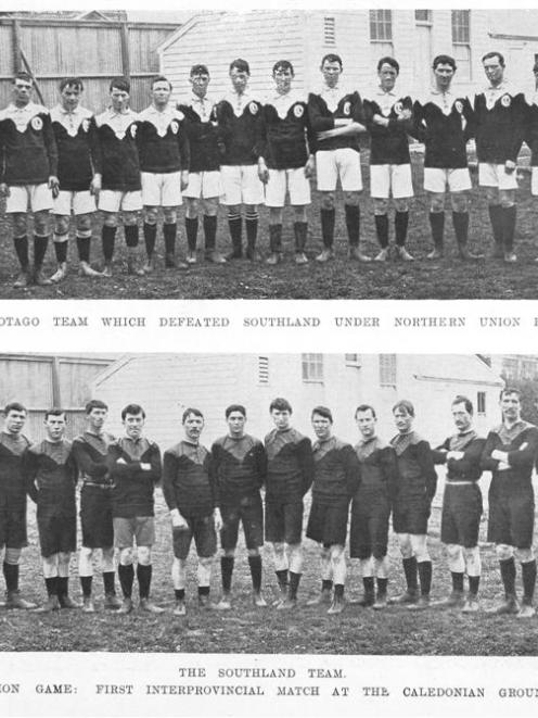 Otago (top) and Southland teams line up for their first rugby league game at the Caledonian...