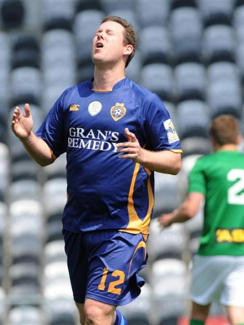 Otago United striker Aaron Burgess shows his frustration after a missed opportunity against...