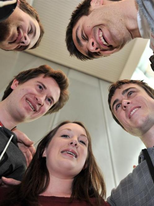 Otago University Debating Society members (clockwise from top left) Matt Dodd, William Cheyne,...