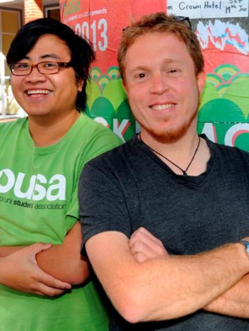 Otago University Students' Association president Francisco Hernandez (left) and events and...