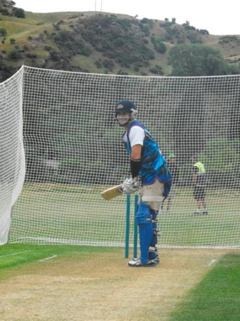 Otago Volts all-rounder Nathan McCullum bats in the nets at the Queenstown Events Centre...