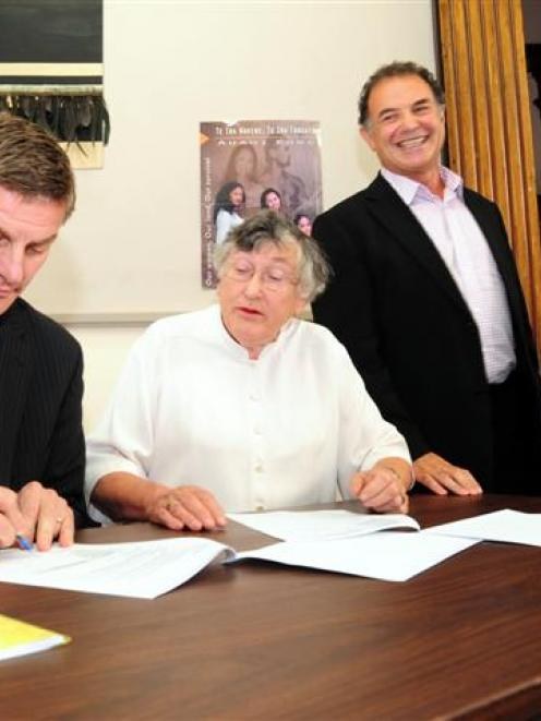 Otago Youth Wellness Trust founder Dame Patricia Harrison and Deputy Prime Minister Bill English...