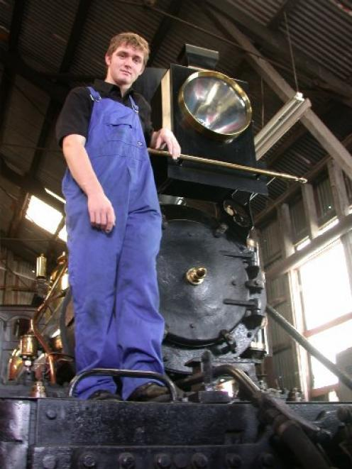 George King (18) of Oamaru Steam and Rail worked his way up to getting his license to drive steam and diesel locomotives. Photo by David Bruce.