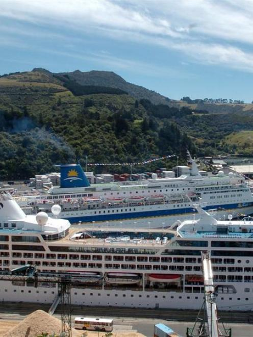 Pacific Sky (front) at Port Chalmers in 2005. Photo from ODT files.