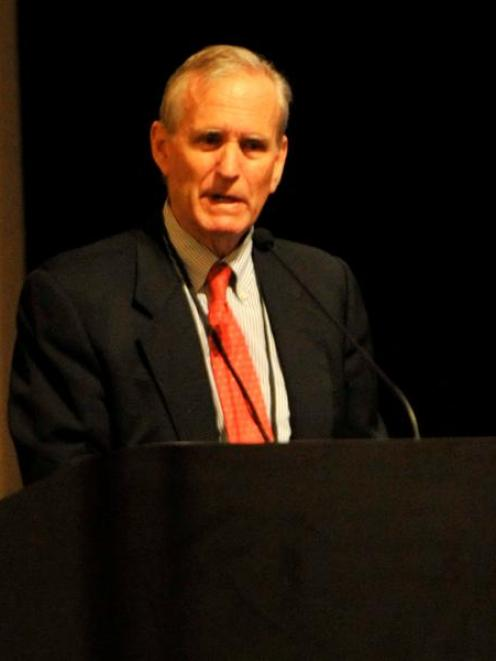 Pain medicine specialist Prof Rollin Gallagher speaks at a medical conference in Dunedin. Photo...