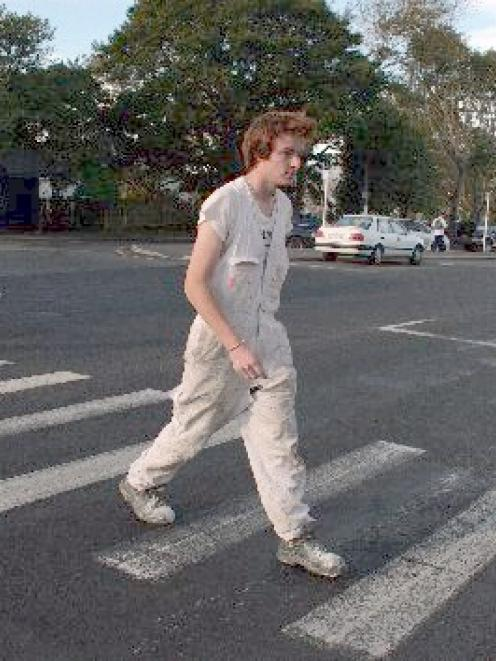 Painted on: Taylor Dixon tries his luck on the pedestrian crossing at Mornington. The area is a ...