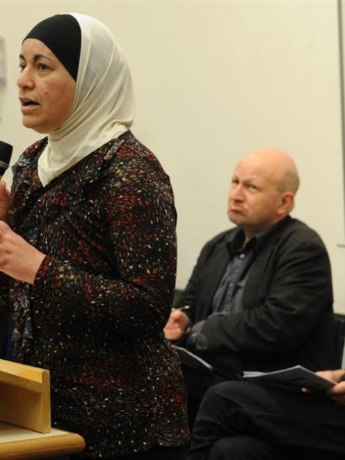 Palestinian Mai Tamimi discusses the recent Gaza war with fellow University of Otago panelists ...