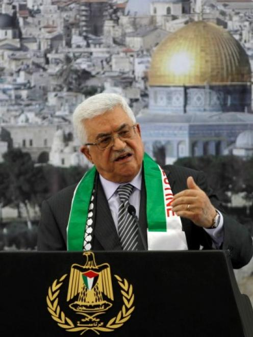 Palestinian President Mahmoud Abbas speaks during a ceremony marking the eighth anniversary of...