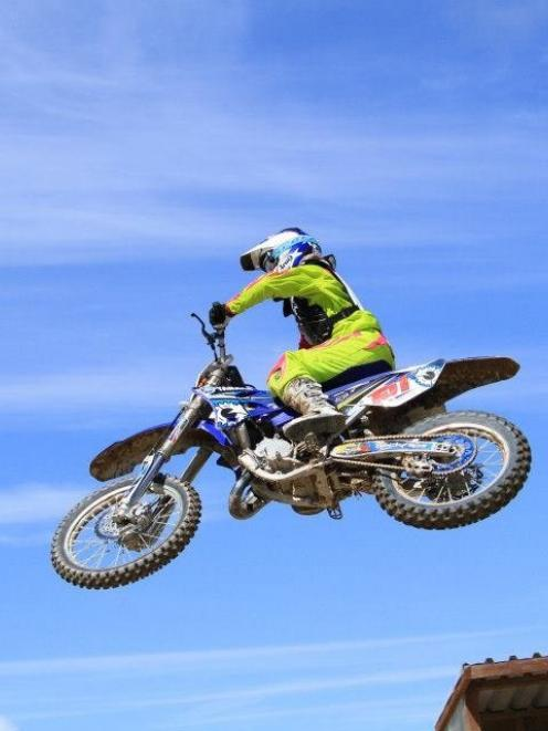 Palmerston rider Courtney Duncan flies through the air at the Taupo Extravaganza earlier this...