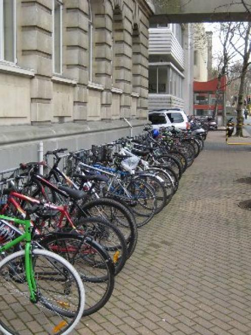 Parked cycles outside the School of Medicine in Great King St, Dunedin. Photo supplied.