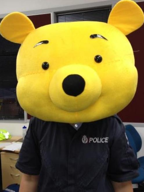 Part of a large Winnie the Pooh costume recovered by Hamilton police. Photo NZ police