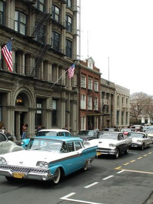 Part of Bond St, Dunedin, was transformed into a 1950s Manhattan traffic jam for the filming of a...